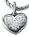 Brighton Silver Amore Heart Charm for Necklace or Bracelet Covered w Crystals