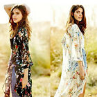 US Women Boho Floral Beach Chiffon Loose Cardigan Shawl Top Cover up Blouse Coat