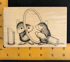 HOUSE MOUSE  Lipstick and mirror  Wood mounted rubber stamp  new condition