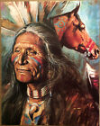 Original Vintage Poster Native American Indian Chief Horse 1970s Head Shop Pinup
