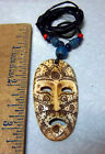Tribal theme mask pendant Necklace w beads expandable cord face Tribal Marks