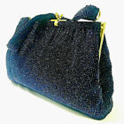 Gucci Purse Kelly Vintage Rare Beaded Hand Bag Evening Formal Blue 50s Authentic