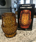 Amber Angel Light 2-pc. Candle Lamp W/ Box Indiana Glass Co. Fairy Lamp