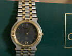 VINTAGE GUCCI MENS STAINLESS GOLD WATCH 9000M SWISS W/ BOX CASE RECEIPT LINKS