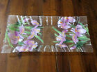 Sydenstricker Signed Art Glass Lg rectangular plate Purple Flowers Cat Rescue