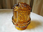 VINTAGE INDIANA GLASS FAIRY LAMP LIGHT AMBER STARS AND BARS CANDLE HOLDER