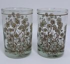 Vintage Libbey Brittle Brush Juice Glasses Set of 2 Clear with Brown Flowers