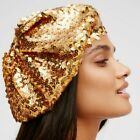 NWOT FOREVER 21 GOLD Sequin BERET Slouchy Beanie Hat One Size