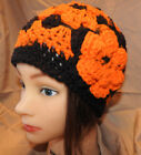 Beanie style hand crochet Woman  or teen  hat  ORANGE BLACK BENGALS colors  NEW