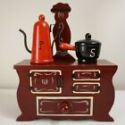 VINTAGE Stove Kettle Pot HAND PAINTED Salt and Pepper Shakers Wooden Japan 4 pcs