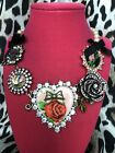 Betsey Johnson Vintage Dollhouse Huge Red Rose Heart Pearl Pink Crystal Necklace