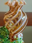 Fenton Topaz Cameo Opalescent Spiral Optic Ruffled Vase