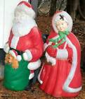 2 Vintage Empire Santa  Mrs Claus Lighted Blow Mold Christmas Lawn Ornament 44