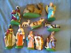 Vintage 11 PC Nativity Manger Figures  Animals Creche Set Large Detailed ITALY