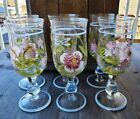 Set of Six Beautiful Hand Painted Clear Glass Wine Goblets Flowers  Dragonfly