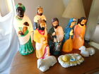 VTG Empire 9PC Nativity Blow Mold Set Jesus Camel Wise Men Christmas Lights Work