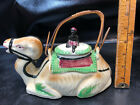 Vtg Ceramic Sitting Camel Tea Pot with Lid Made in Japan bamboo handle Rider