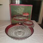 Vintage Diamond Point Indiana Ruby Band Crystal Chip 'N Dip Set WITH BOX 0402