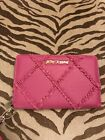 Betsey Johnson Cross Your Heart Fuschia Large Wristlet Wallet New With Tag