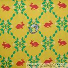BonEful Fabric Cotton Quilt Yellow White Green Red Dot Leaf Bunny Easter SCRAP
