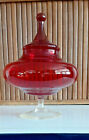 RUBY RED DEPRESSION GLASS APOTHECARY JAR FOOTED CANDY DISH IMPRESSIVELY CRAFTED