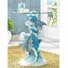 Dolphins Glass Top Accent Table Furniture Animal Figurine Fish Ocean Collectible