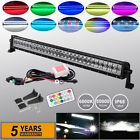 32inch 180W Offroad LED Light Bar Combo w RGB Halo Rings Driving Truck 4WD ATV