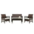 4PC Outdoor Rattan Wicker Sofa Set Sectional Patio Furniture Table Chair