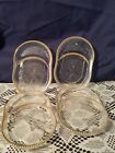 Jeannette Glass Coaster With Spoon Rest Tea Bag Holder Harp Gold Beaded Rim 4