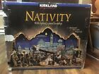 Vintage 1996 Kirkland Nativity Set 20pc Lighted Backdrop Hand Painted 662120