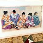 Southwest Indian Women Cross Stitch Picture Native American Completed Framed