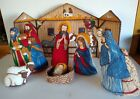 Plush Nativity Scene Set Handmade Childrens Vintage Christmas 8 Piece