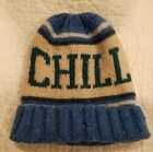 Gap Kids CHILL Beanie Sweater Hat Blue Brown White Size L/XL Holidays Gift