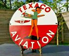 VINTAGE TEXACO GASOLINE PORCELAIN PIN UP MILITARY GIRL AVIATION SERVICE OIL SIGN