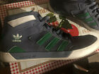 ADIDAS LA MARQUE AUX 3 BANDES MENS SIZE 12 HIGH TOP SNEAKERS SHOES GREEN GRAY