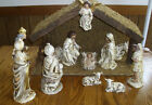 Antique Japan 12 Figures Mache Manger Creche Nativity 1950s Stable