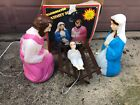 Vintage Empire Nativity Baby Jesus Mary Joseph Crche Blow Mold Lighted BOX