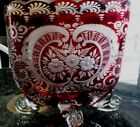 RUBY RED and CLEAR GLASS VASE WITH ETCHED FLOWERS CURVED CLEAR LEGS