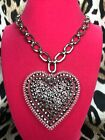 Luly Lu Looking Glass Vintage HUGE Lucite Heart Chrome Swarovski Necklace