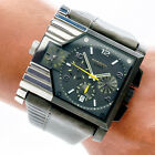 Diesel Mens Watch DZ4177 Large Dual Time Chronograph Date Black Silver Working