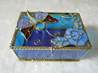 VINTAGE HANDCRAFTED BUTTERFLY STAINED LEADED GLASS BLUE JEWELRY TRINKET BOX