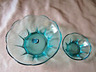 VINTAGE ANCHOR HOCKING CHIP DIP BOWL SET AQUA MARINE BLUE GLASS SCALLOP EDGE MCM