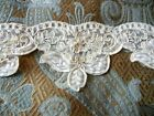 Embroidered Pearl Beaded Sequin Alencon Lace Border Medallions White 1 yd Bridal