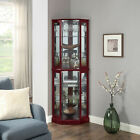 Ashfield Lighted Wood Glass Curio Corner Cabinet Floor Standing 2 Colors
