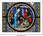 Nativity Scene Stained Art Canvas Print Poster Wall Art Home Decor F