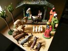 PRE WWII 1930S NATIVITY  MANGER SET FIGURES ANIMALS TREES SEE PICTURES