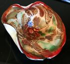 VINTAGE ITALIAN MURANO RED CONFETTI TUTTI FRUTTI GLASS BOWL W ORIGINAL LABELS