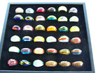 Rings Hand Blown Glass Bead Box of 36 NEW Various colors designs Solid