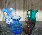 Nice Collection of 4 Vintage Crackle Glass Pitchers Cat Rescue