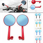 Aluminum Side Round Rearview Mirrors Motorcycle Street Bike 8mm 10mm Universal